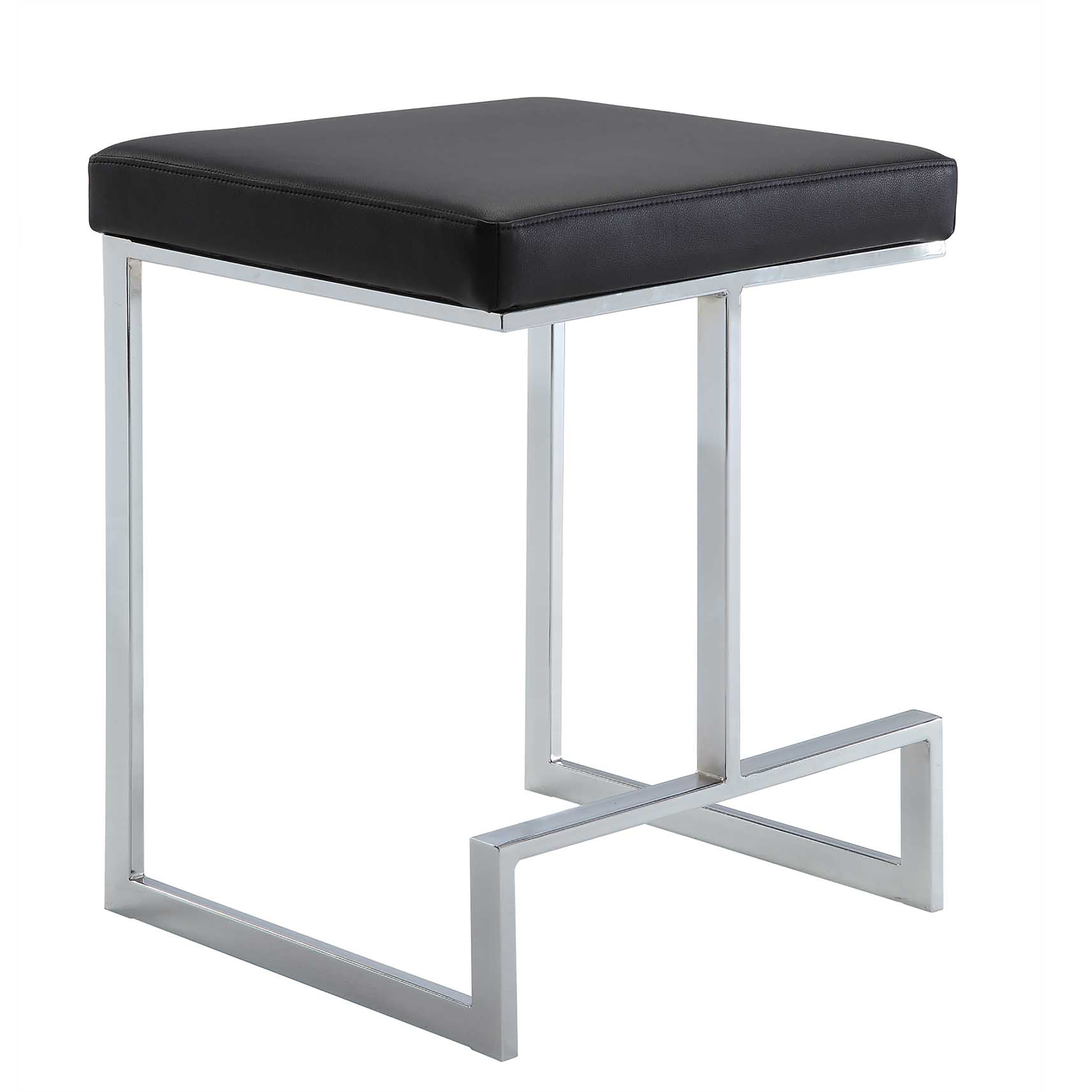 "Kafka 24"" Counter Stool, Black Leatherette/Chrome"