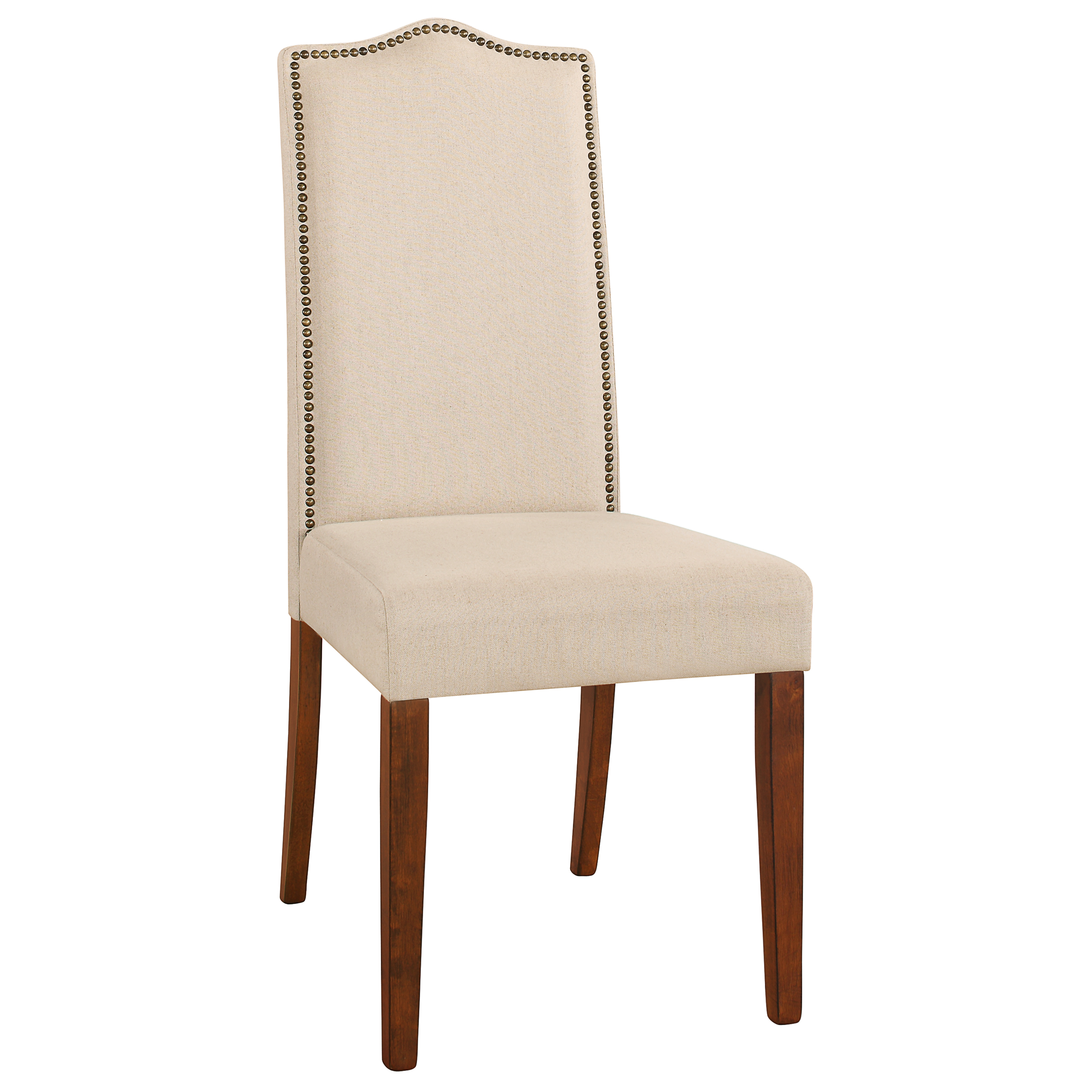 Hudson Nail Head Parson Chair, Chestnut w/ Linen