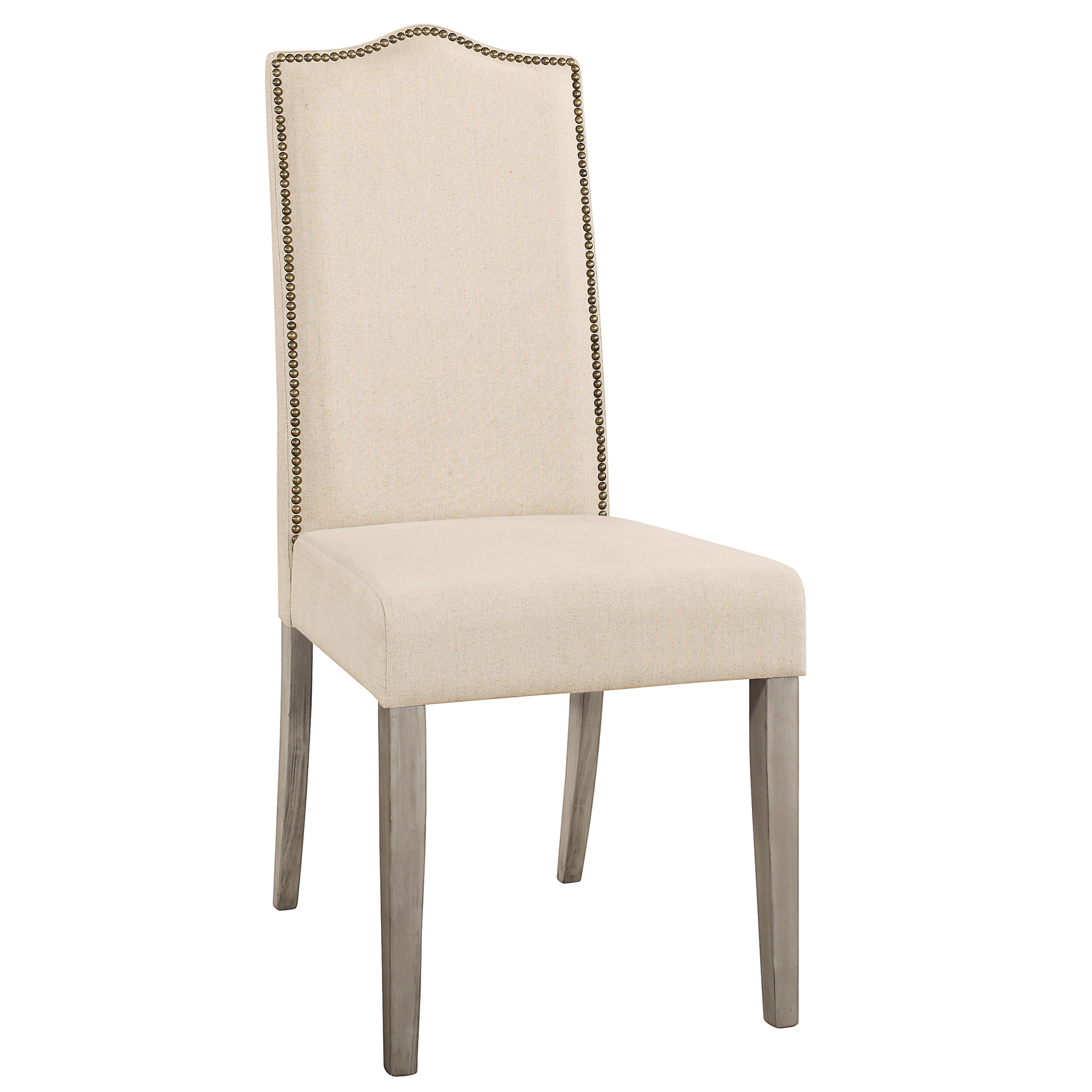 Hudson Nail Head Parson Chair, Weathered Gray w/ Linen