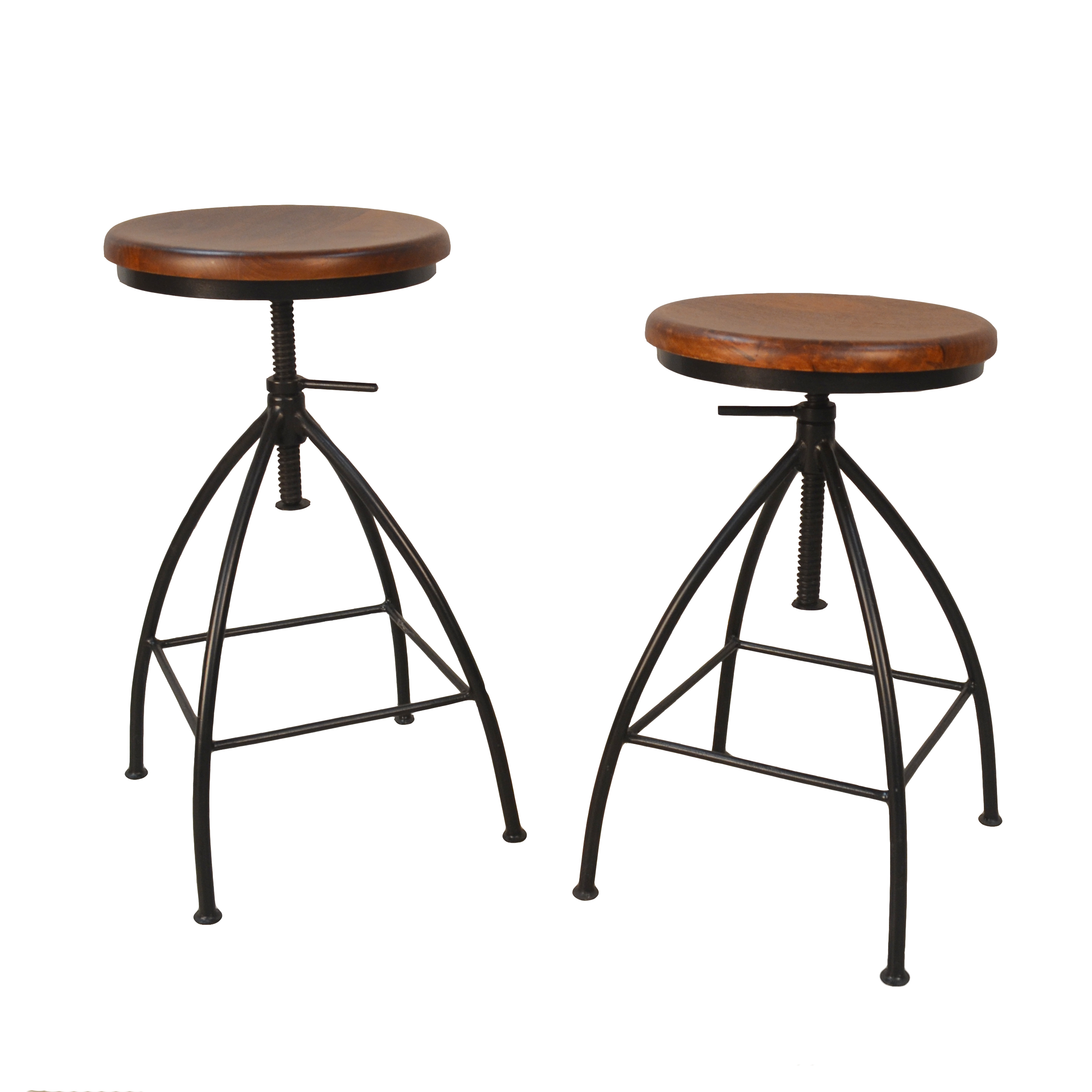 Advik Adjustable Stool Set of 2, Chestnut/Black