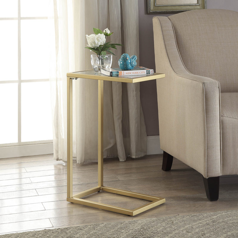 Ansley Glass Top Accent Table, Gold