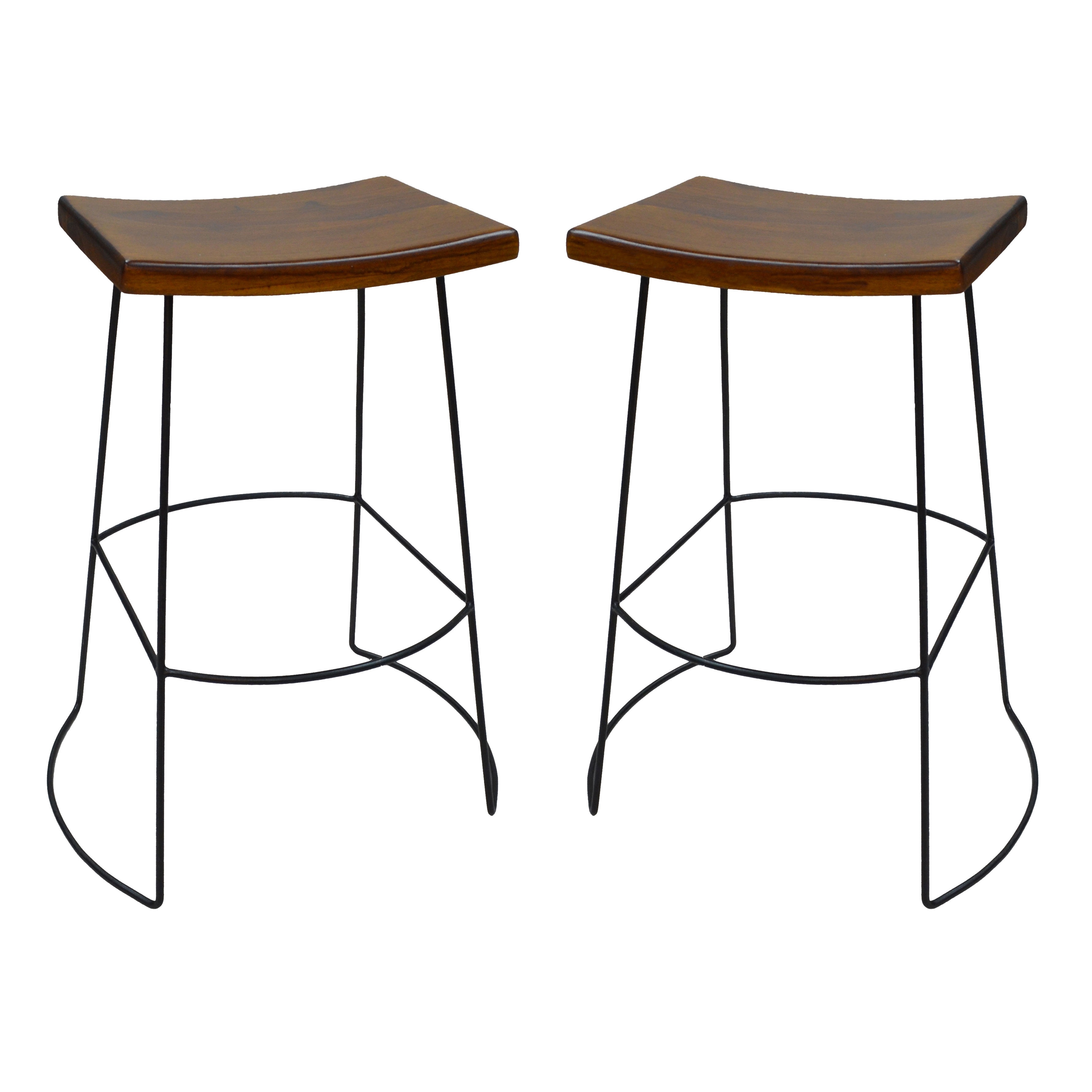 "Reece Saddle Seat 30"" Bar Stool Set of 2, Chestnut/Black"