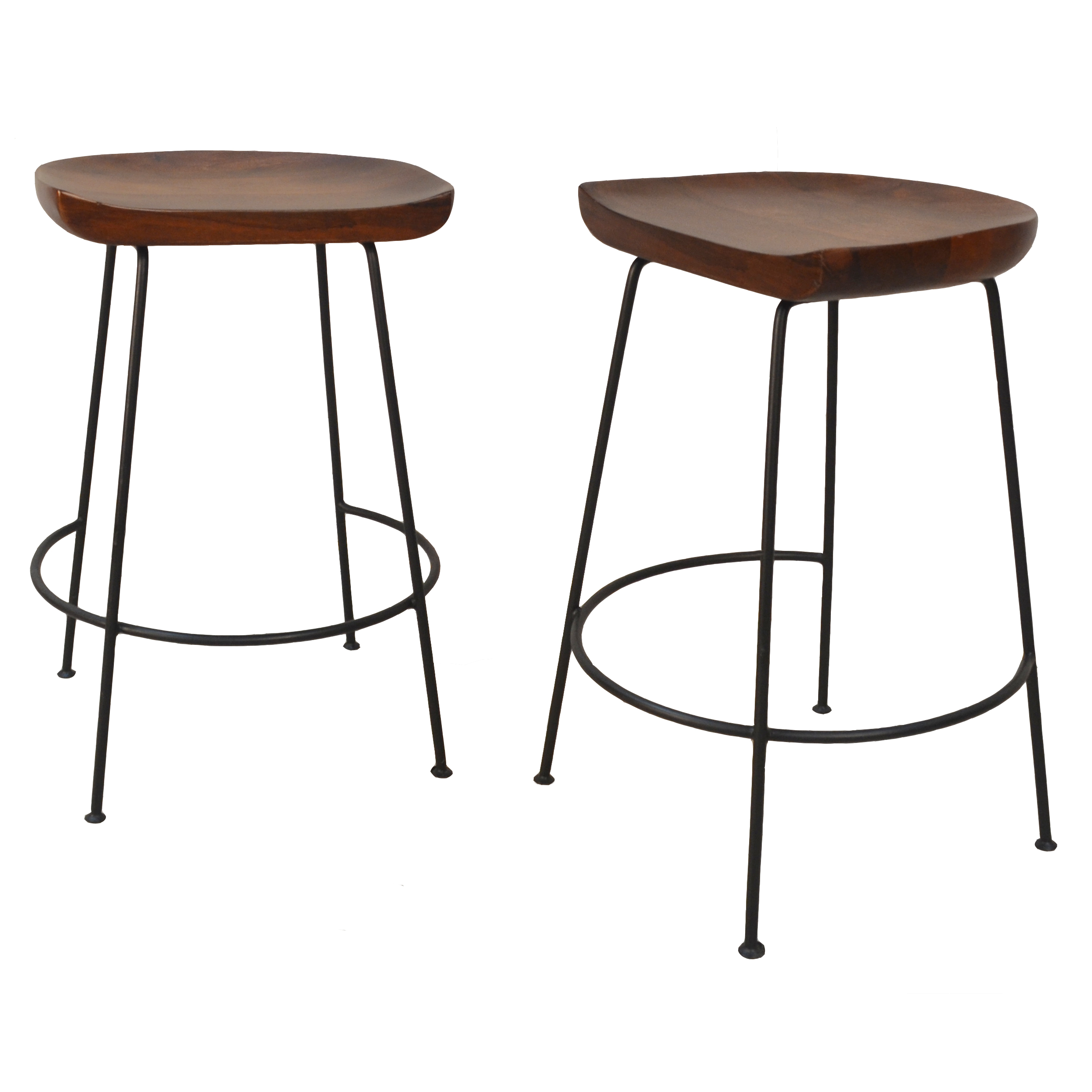 "Diya 24"" Counter Stool Set of 2, Chestnut/Black"