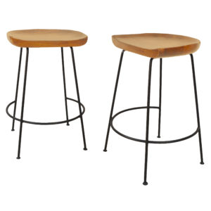 "Diya 24"" Counter Stool Set of 2, Natural/Black"