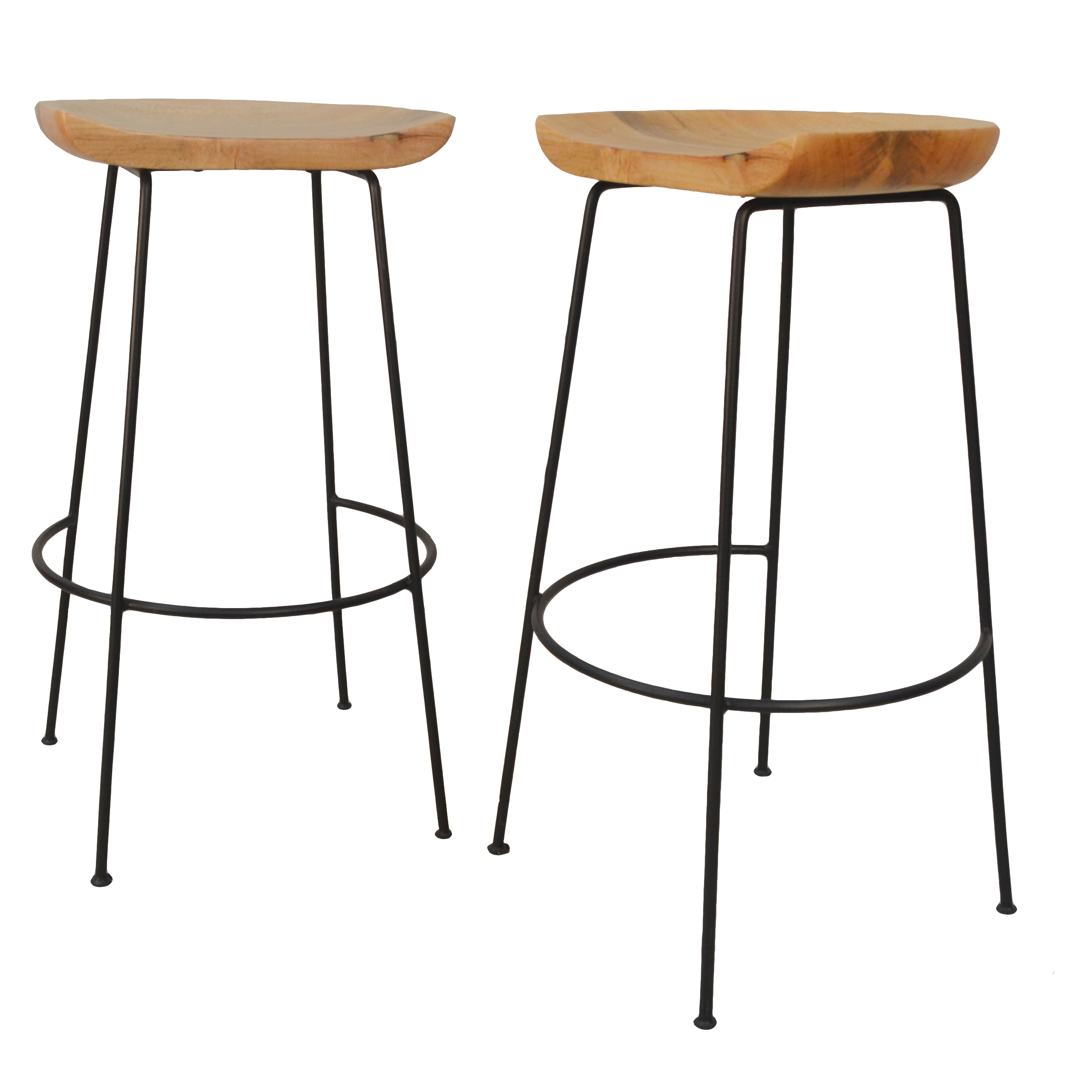 "Diya 30"" Bar Stool Set of 2, Natural/Black"