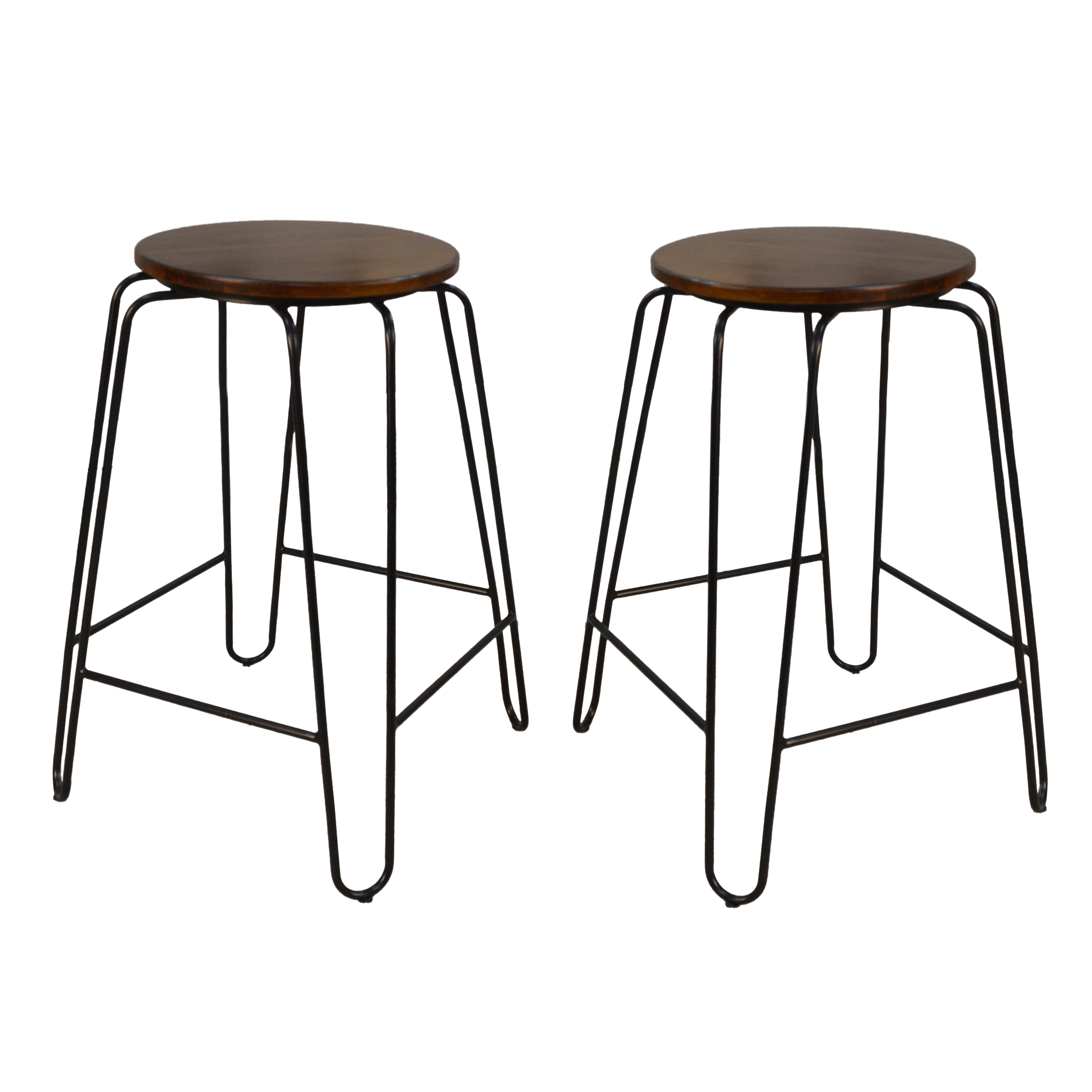 "Ethan 24"" Counter Stool Set of 2, Elm/Black"