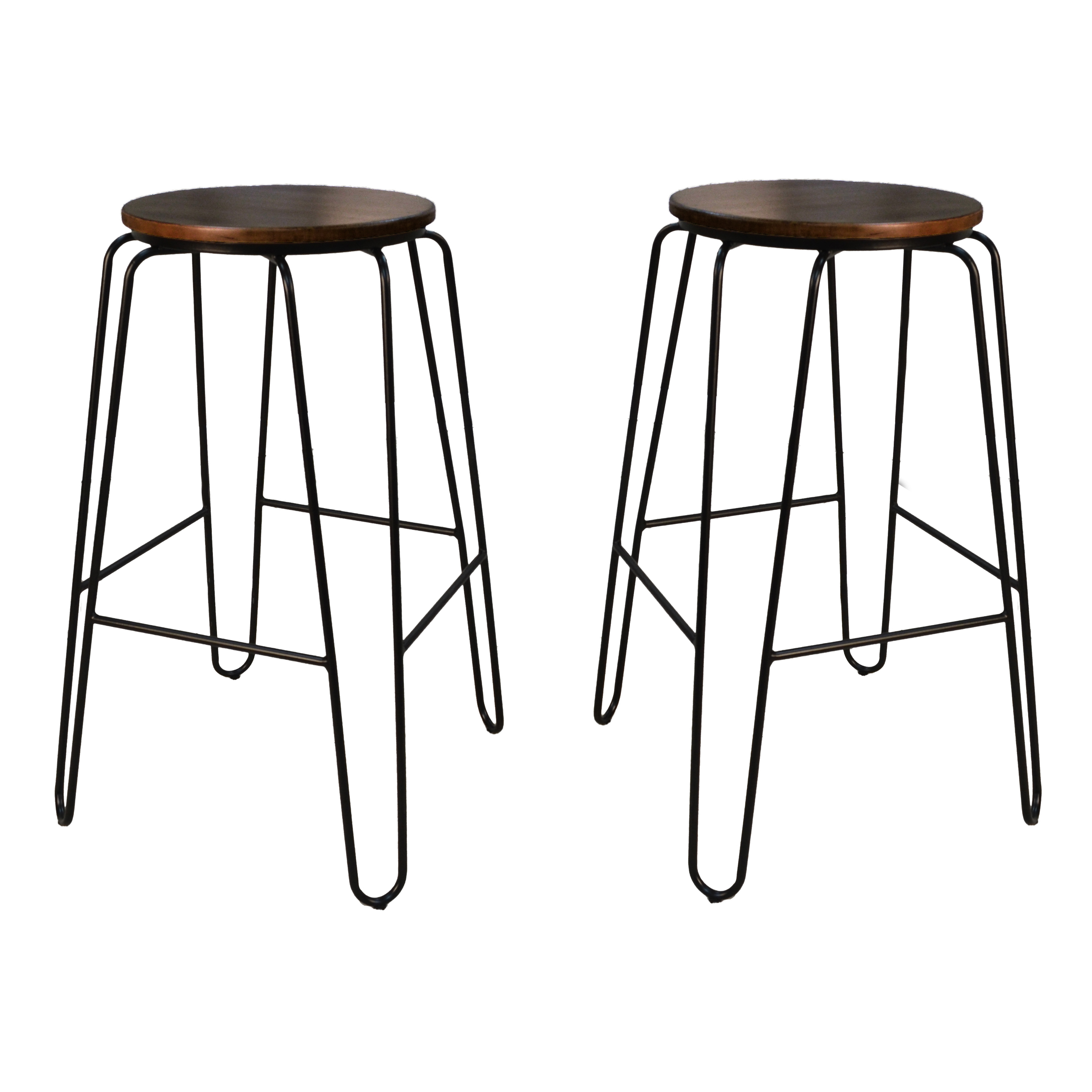 "Ethan 29"" Bar Stool Set of 2, Elm/Black"