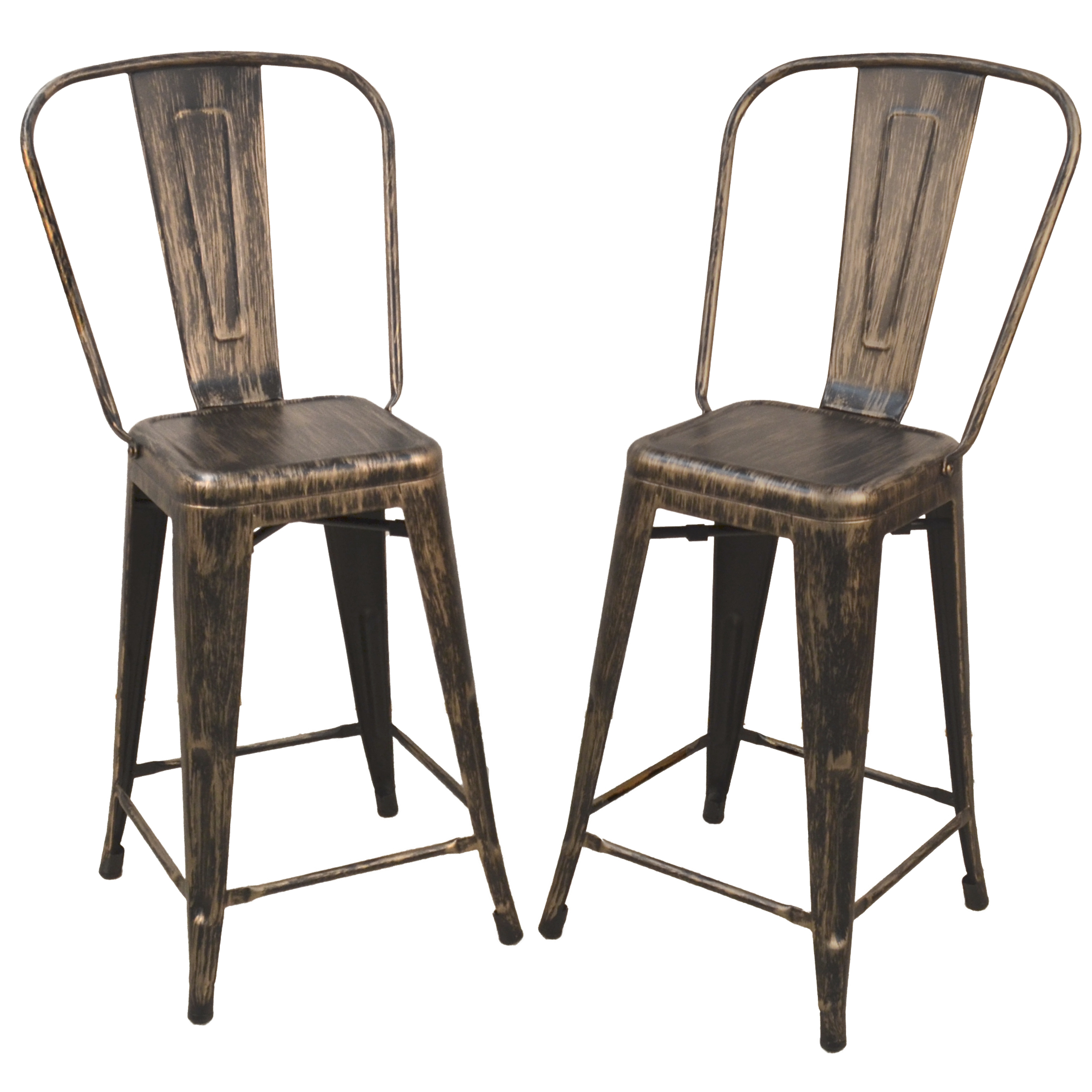 "Adeline 24"" Counter Stool Set of 2, Antique Copper"