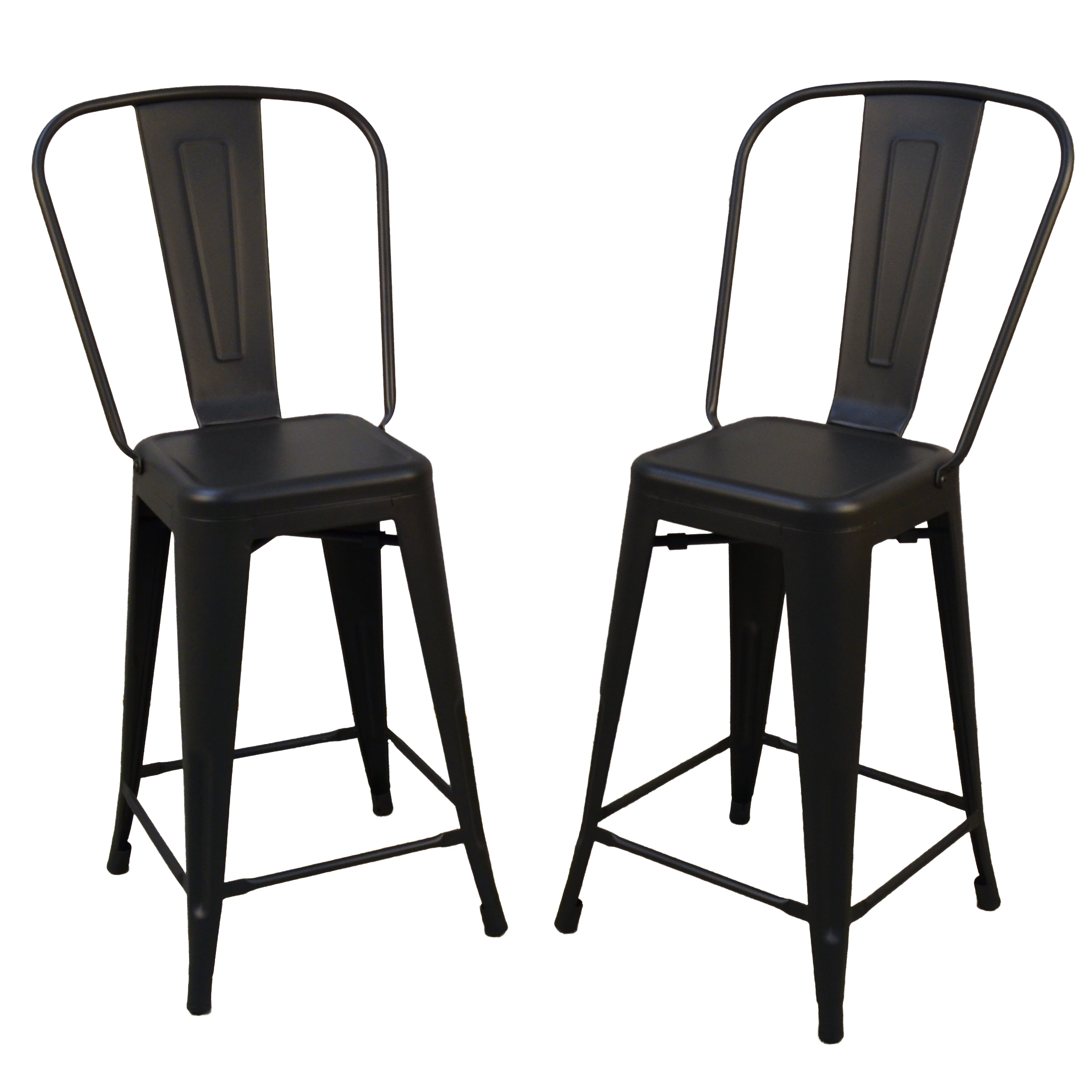 "Adeline 24"" Counter Stool Set of 2, Black"