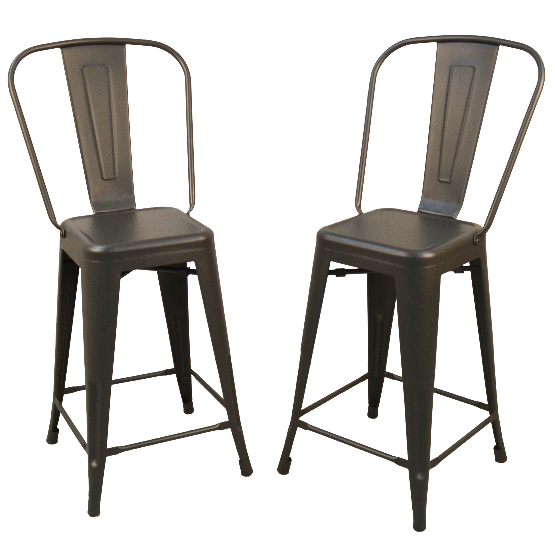 "Adeline 24"" Counter Stool Set of 2, Rustic Pewter"