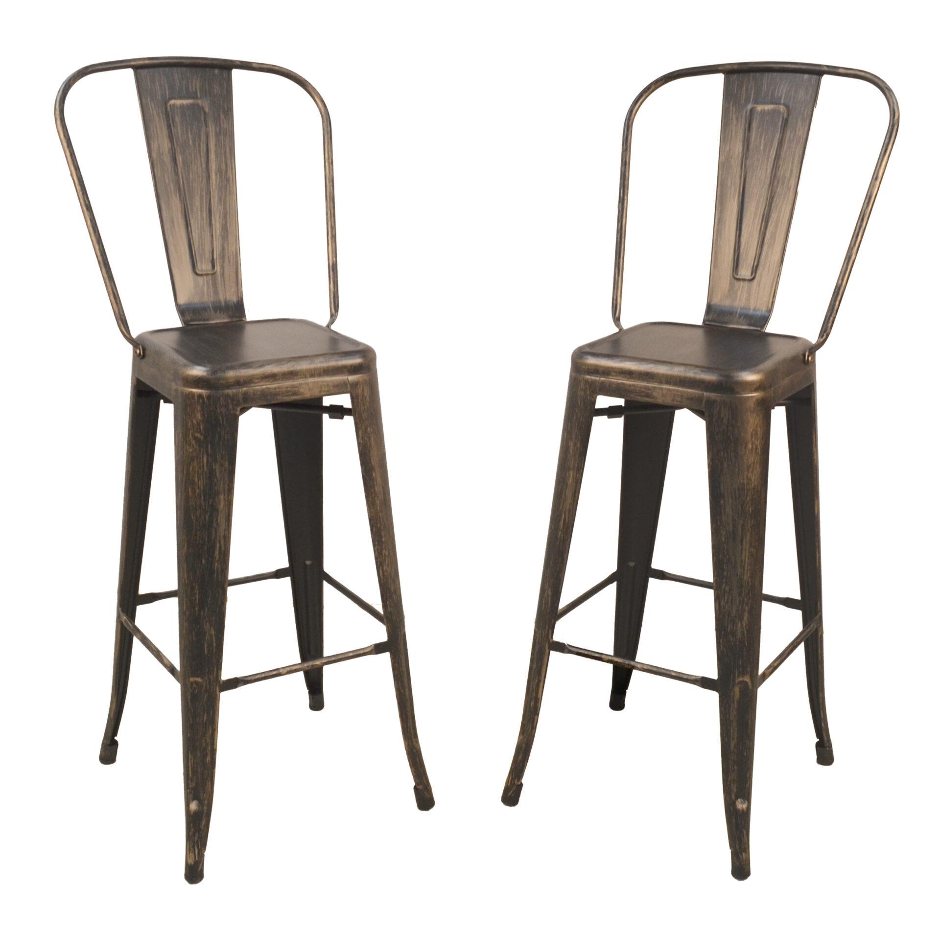 "Adeline 30"" Barstool Set of 2, Antique Copper"