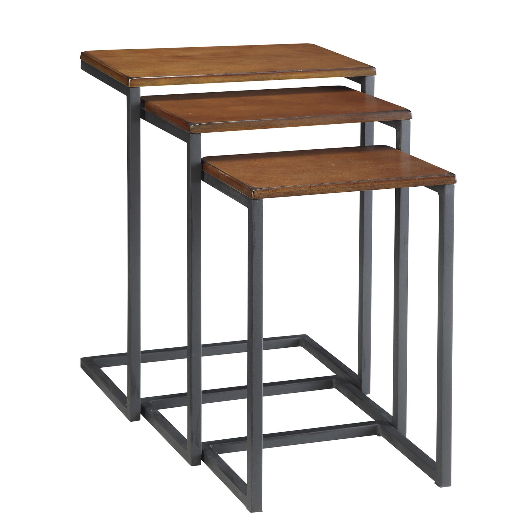 Emmitt Nesting Table Set, Chestnut/Black
