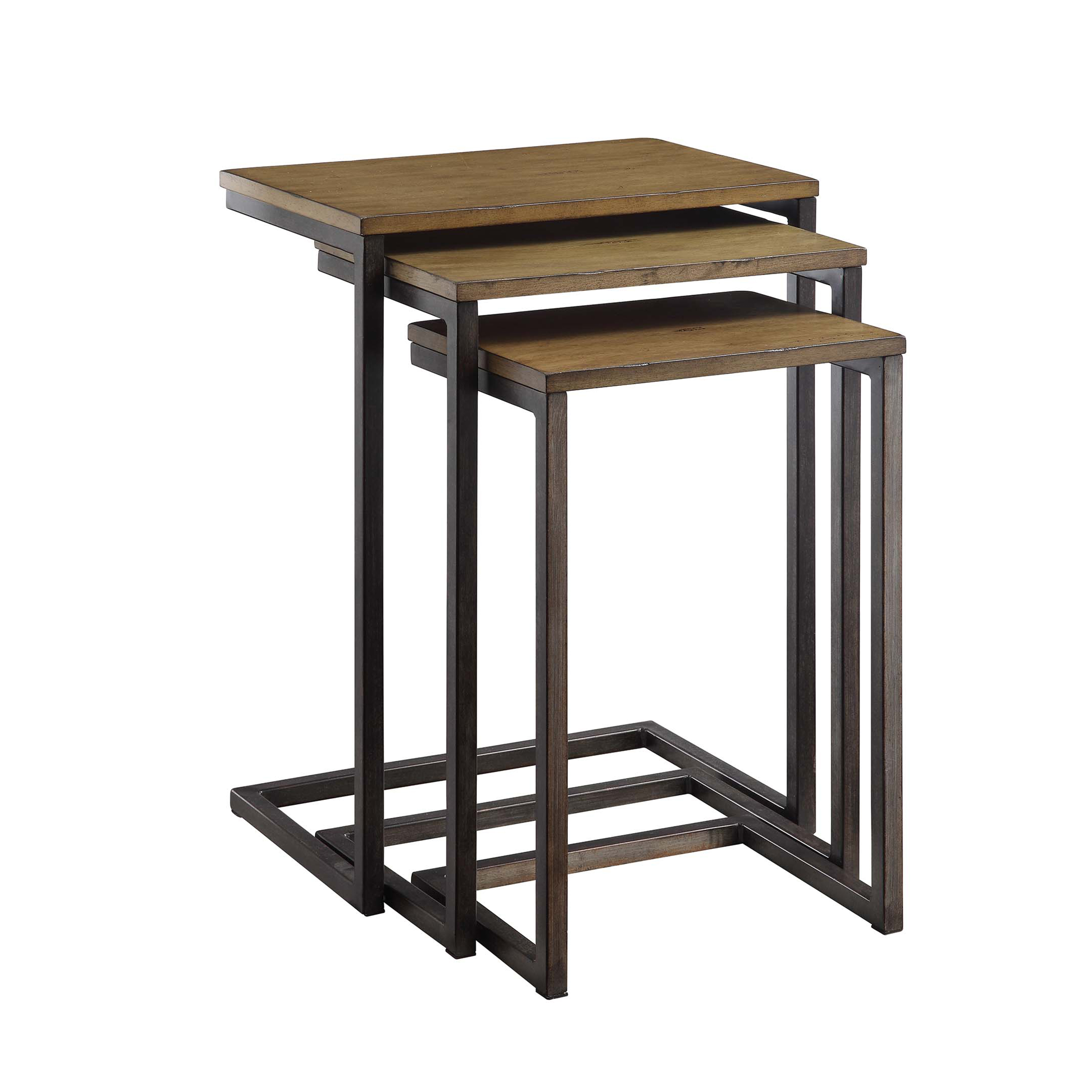 Emmitt Nesting Table Set, Harvest Oak/Aged Iron